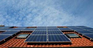 Sky and Solar Panel on a House in Regina, Saskatchewan