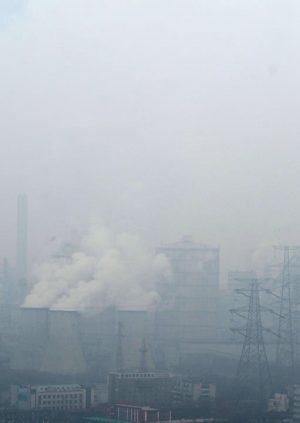 Thick Pollution in the Form of Smog Enveloping a Chinese City