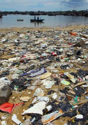A Large Unsustainable Floating Patch of Garbage in the Water of Asia