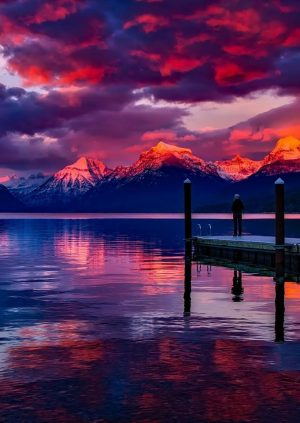 A Sensational Environmental Display of Greatness through a Purple and Pink Sunset in the Pristine Mountains