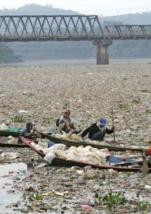 A Country's River and Waterway Filled with Trash and Plastic
